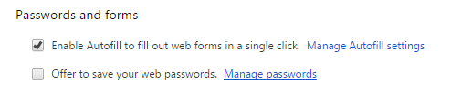 Google password manager.off